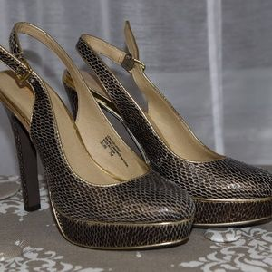 Leather snake skin shoes with open back